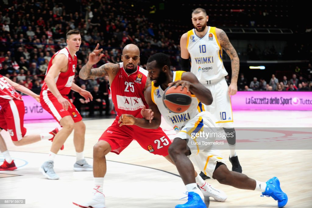 Charles Jenkins, #22 of Khimki Moscow Region in action during the 2017/2018 Turkish Airlines EuroLeague Regular Season Round 11 game between AX Armani Exchange Olimpia Milan and Khimki Moscow Region at Mediolanum Forum on December 7, 2017 in Milan, Italy.