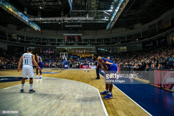 Charles Jenkins #22 of Moscow Khimki rests during a pause in the action during the 2017/2018 Turkish Airlines EuroLeague Regular Season Round 17 game...