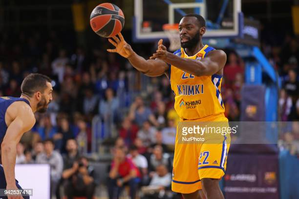 Charles Jenkins and Pau Ribas during the match between FC Barcelona and BC Khimki Moscu corresponding to the week 30 of the Euroleague played at the...