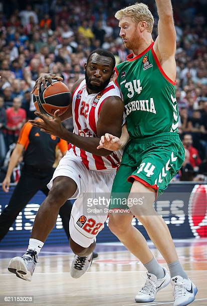 Charles Jenkins of Crvena Zvezda in action against Chase Budinger of Baskonia during the 2016/2017 Turkish Airlines EuroLeague Regular Season Round 5...