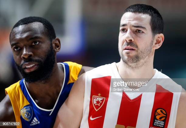 Charles Jenkins of Khimki and Taylor Rochestie of Crvena Zvezda look on during the 2017/2018 Turkish Airlines EuroLeague Regular Season Round 18 game...