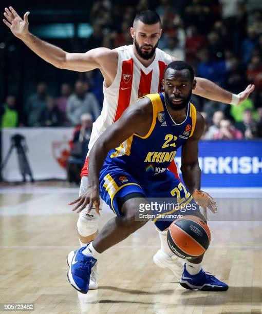Charles Jenkins of Khimki in action against Branko Lazic of Crvena Zvezda during the 2017/2018 Turkish Airlines EuroLeague Regular Season Round 18...