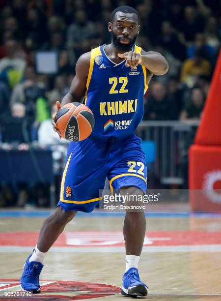 Charles Jenkins of Khimki in action during the 2017/2018 Turkish Airlines EuroLeague Regular Season Round 18 game between Crvena Zvezda mts Belgrade...