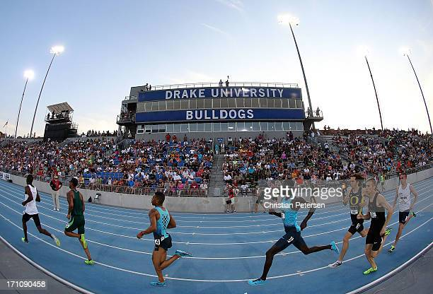 Charles Jock competes in the semi final Men's 800 Meter Run on day two of the 2013 USA Outdoor Track & Field Championships at Drake Stadium on June...