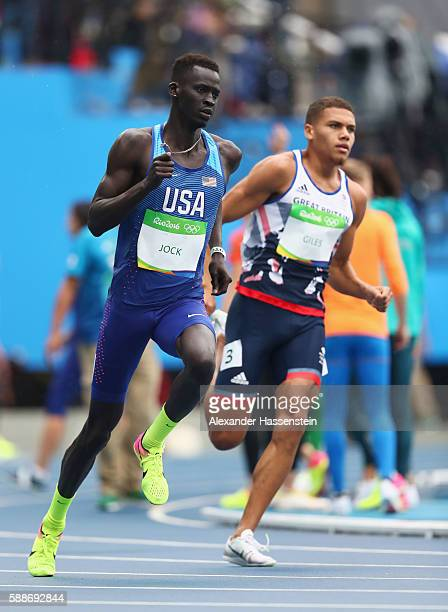 Charles Jock of the United States and Elliot Giles of Great Britain compete in round one of the Men's 800 metres on Day 7 of the Rio 2016 Olympic...