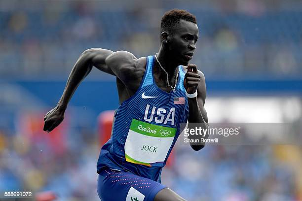 Charles Jock of the United States competeing in round one of the Men's 800 metres on Day 7 of the Rio 2016 Olympic Games at the Olympic Stadium on...