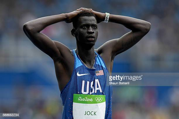 Charles Jock of the United States reacts after competeing in round one of the Men's 800 metres on Day 7 of the Rio 2016 Olympic Games at the Olympic...