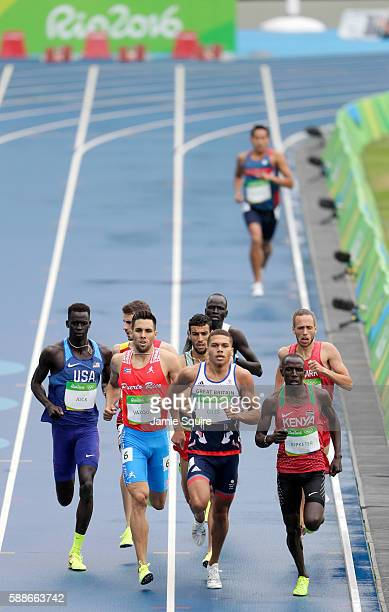 Charles Jock of the United States, Wesley Vazquez of Puerto Rico, Elliot Giles of Great Britain and Alfred Kipketer of Kenya compete in round one of...