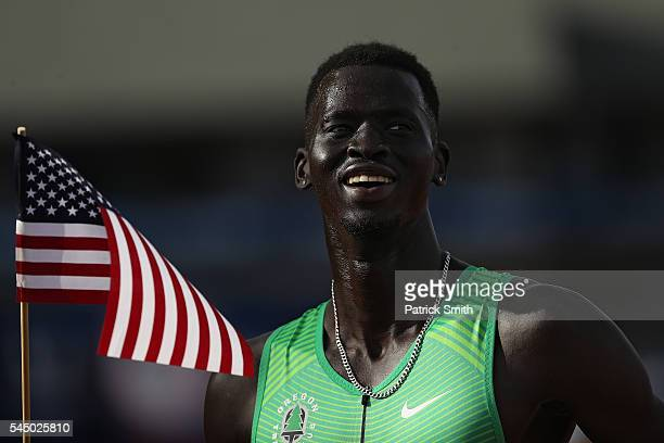 Charles Jock, third place, celebrates after the Men's 800 Meter Final during the 2016 U.S. Olympic Track & Field Team Trials at Hayward Field on July...