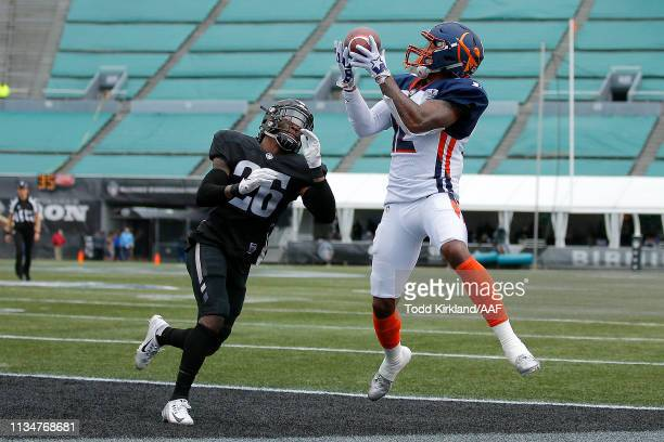 Charles Johnson of Orlando Apollos catches a touchdown in the end zone against the Birmingham Iron during their Alliance of American Football game at...