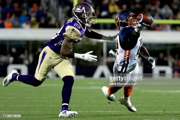 Charles Johnson of the Orlando Apollos misses a pass attempt against Desmond Lawrence of Atlanta Legends during the first quarter on February 09 2019...