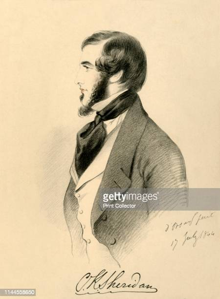 """Charles K. Sheridan', 1844. Possibly a portrait of Charles Kinnaird Sheridan , British diplomat. From """"Portraits by Count D'Orsay"""", an album..."""