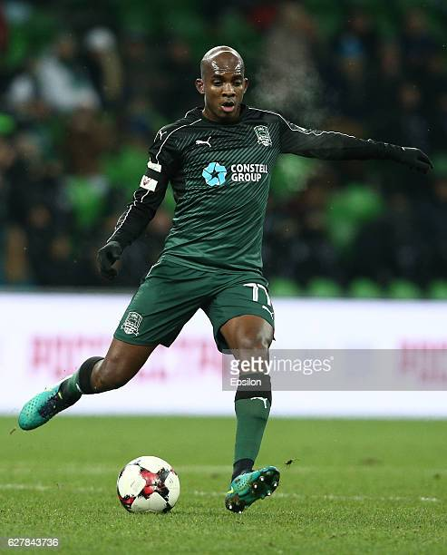 Charles Kabore of FC Krasnodar in action during the Russian Premier League match between FC Krasnodar v FC Krylia Sovetov Samara at Krasnodar Stadium...
