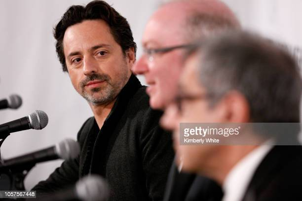 Charles Kane Eugene Mele and Sergey Brin attend the 2019 Breakthrough Prize at NASA Ames Research Center on November 4 2018 in Mountain View...