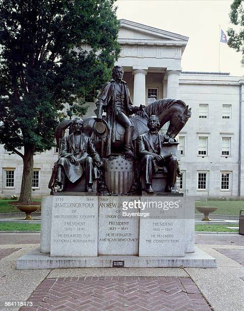 Charles Keck statue honoring three North Carolinaborn US presidents James K Polk Andrew Jackson and Andrew Johnson outside the state capitol in...
