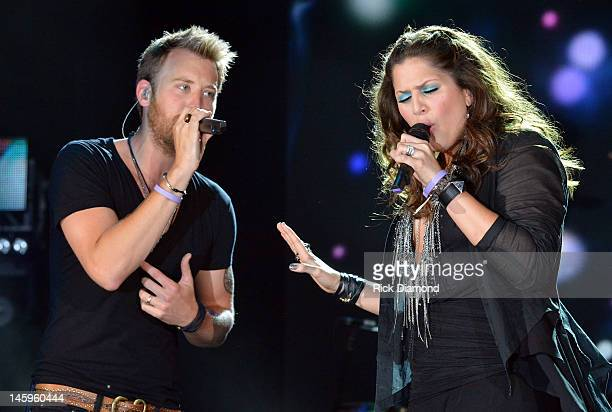 Charles Kelley and Hilary Scott of Lady Antebellum perform during the 2012 CMA Music Festival Day 1 at LP Field on June 7 2012 in Nashville Tennessee