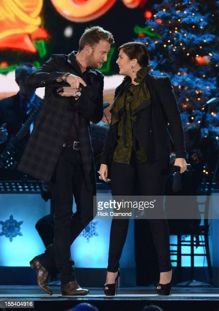 Charles Kelley and Hillary Scott of Lady Antebellum perform during the 2012 Country Christmas concert on November 3 2012 at the Bridgestone Arena in...