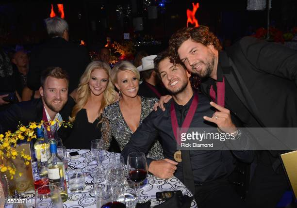 Charles Kelley Cassie McConnell Caroline Boyer Luke Bryan and Dallas Davidson attend the 60th Annual BMI Country Awards at BMI on October 30 2012 in...