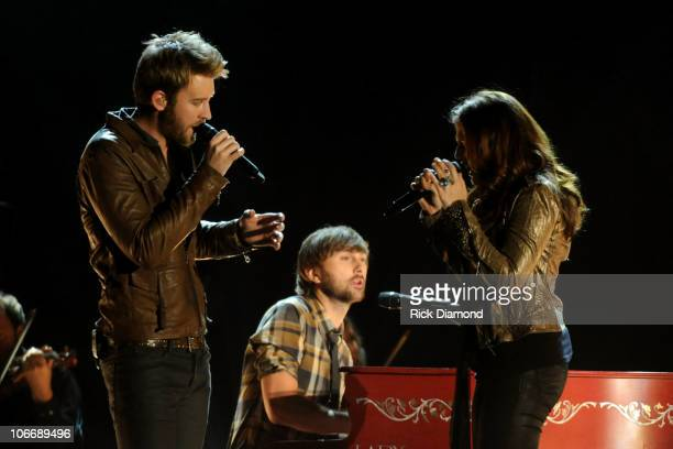 Charles Kelley Dave Haywood and Hillary Scott of Lady Antebellum perform Hello World at the 44th Annual CMA Awards at the Bridgestone Arena on...