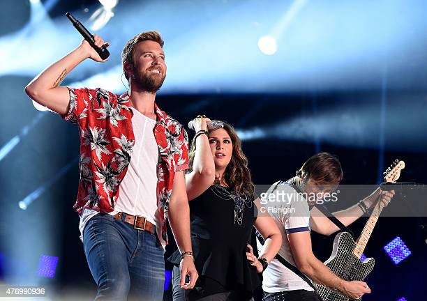 Charles Kelley, Hillary Scott and Dave Haywood of Lady Antebellum perform at LP Field during the 2015 CMA Festival on June 12, 2015 in Nashville,...