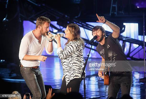 Charles Kelley Hillary Scott and Dave Haywood of Lady Antebellum at Shoreline Amphitheatre on June 26 2015 in Mountain View California