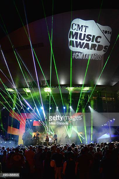 Charles Kelley Hillary Scott and Dave Haywood of Lady Antebellum perform onstage at the 2014 CMT Music Awards Rehearsals Day 2 at Bridgestone Arena...