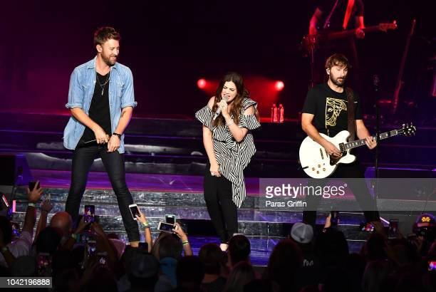 Charles Kelley Hillary Scott and Dave Haywood of Lady Antebellum perform in concert during Summer Plays On tour at Verizon Wireless Amphitheater on...