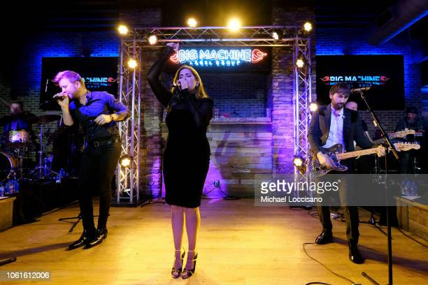 Charles Kelley Hillary Scott and Dave Haywood of Lady Antebellum perform on stage for Big Machine Label Group as they celebrate the 52nd annual CMA...