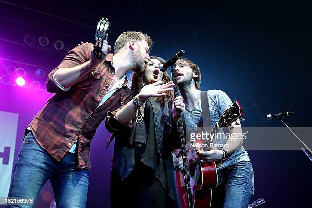 Charles Kelley Hillary Scott and Dave Haywood of Lady Antebellum perform on stage during the NASH FM 947 Nash Bash at Roseland Ballroom on February...