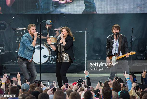 Charles Kelley Hillary Scott and Dave Haywood of Lady Antebellum perform on April 5 2015 for the 2015 March Madness Music Festival Day 3 in...