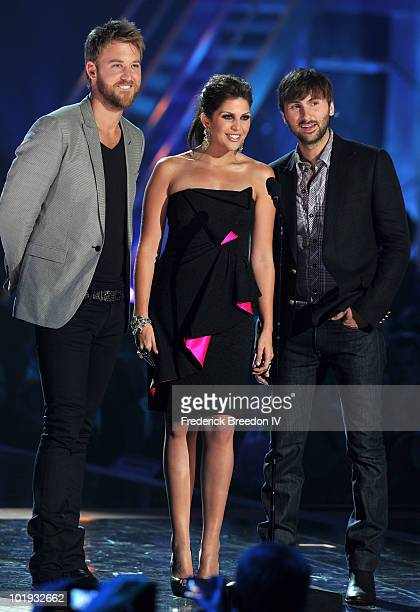 Charles Kelley Hillary Scott and Dave Haywood of Lady Antebellum onstage during the 2010 CMT Music Awards at the Bridgestone Arena on June 9 2010 in...