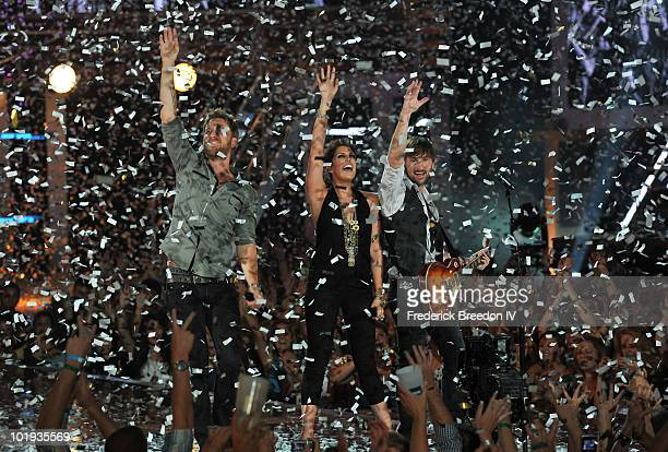 Charles Kelley Hillary Scott and Dave Haywood of Lady Antebellum performs onstage during the 2010 CMT Music Awards at the Bridgestone Arena on June 9...