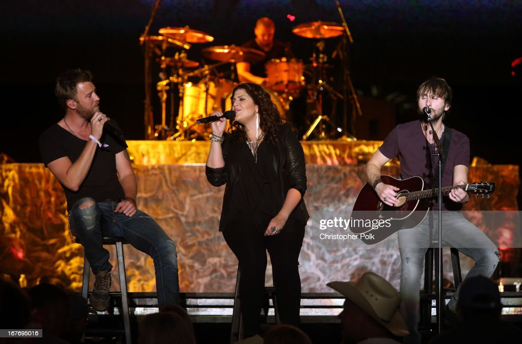 Charles Kelley, Hillary Scott and Dave Haywood of Lady Antebellum perform onstage during 2013 Stagecoach: California's Country Music Festival held at The Empire Polo Club on April 27, 2013 in Indio, California.