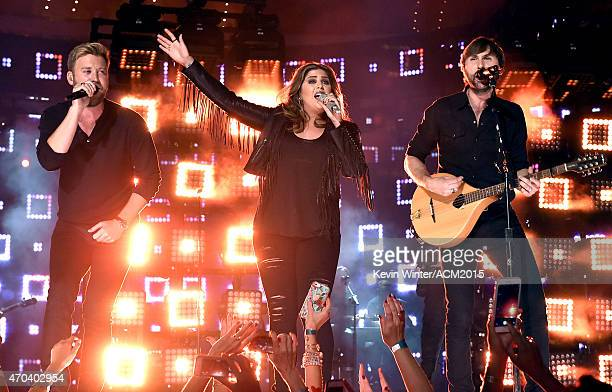 Charles Kelley Hillary Scott and Dave Haywood of Lady Antebellum perform onstage during the 50th Academy of Country Music Awards at ATT Stadium on...