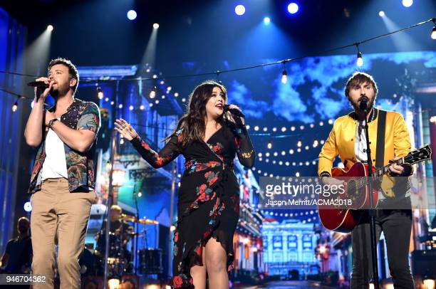 Charles Kelley Hillary Scott and Dave Haywood of Lady Antebellum perform onstage during the 53rd Academy of Country Music Awards at MGM Grand Garden...