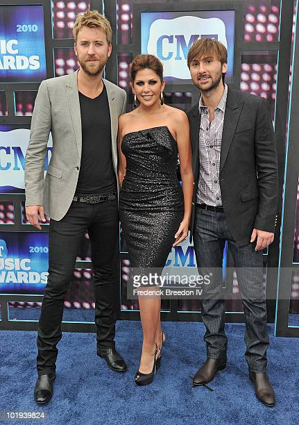 Charles Kelley Hillary Scott and Dave Haywood of Lady Antebellum attend the 2010 CMT Music Awards at the Bridgestone Arena on June 9 2010 in...