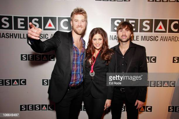 Charles Kelley Hillary Scott and Dave Haywood of Lady Antebellum attend the 2010 SESAC Nashville Music awards dinner at SESAC on November 8 2010 in...