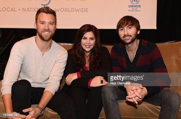 Charles Kelley Hillary Scott and Dave Haywood of Lady Antebellum attend the launch of LadyAID at Schermerhorn Symphony Center on December 3 2012 in...