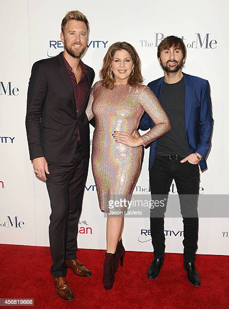 Charles Kelley Hillary Scott and Dave Haywood of Lady Antebellum attend the premiere of 'The Best Of Me' at Regal Cinemas LA Live on October 7 2014...