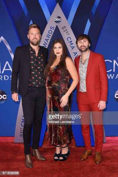 Charles Kelley Hillary Scott and Dave Haywood of Lady Antebellum attends the 51st annual CMA Awards at the Bridgestone Arena on November 8 2017 in...