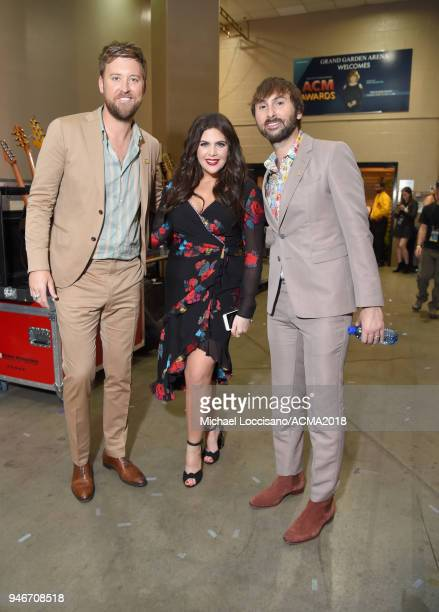Charles Kelley Hillary Scott and Dave Haywood of Lady Antebellum attend the 53rd Academy of Country Music Awards at MGM Grand Garden Arena on April...