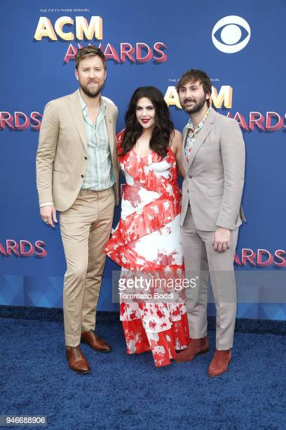Charles Kelley Hillary Scott and Dave Haywood of musical group Lady Antebellum attend the 53rd Academy of Country Music Awards at MGM Grand Garden...