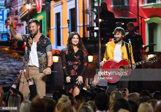 Charles Kelley Hillary Scott and Dave Haywood of musical group Lady Antebellum perform during the 53rd Academy of Country Music Awards at MGM Grand...