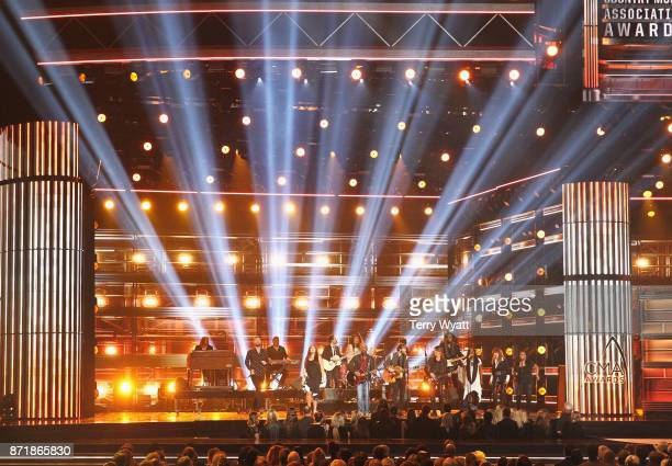 Charles Kelley Hillary Scott Darius Rucker Dave Haywood and Keith Urban perform onstage during the 51st annual CMA Awards at the Bridgestone Arena on...