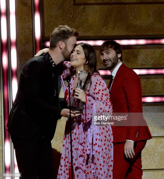 Charles Kelley Honoree Hillary Scott and Dave Haywood of Lady Antebellum onstage during the 2018 CMT Artists of The Year at Schermerhorn Symphony...