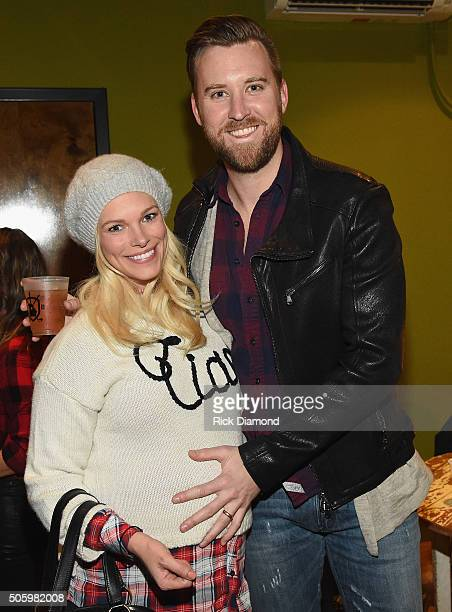 Charles Kelley of Lady Antebellum and wife Cassie McConnell Kelley pose backstage during Roadside Bars and Pink Guitars Unplugged at City Winery...