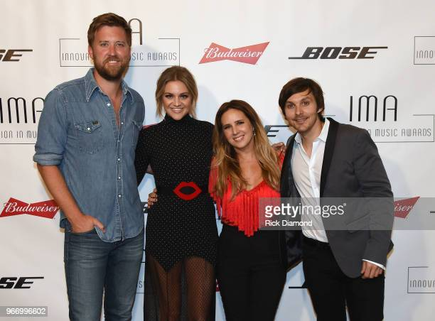 Charles Kelley of Lady Antebellum artists Kelsea Ballerini Lucie Silvas and Charlie Worsham backstage at the Innovation In Music Awards on June 3...