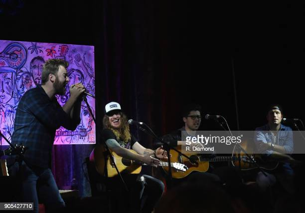 Charles Kelley of Lady Antebellum Jaren Johnston of The Cadillac Three Adam Hambrick and Jacob Davis perform during the ASCAP Showcase at The...