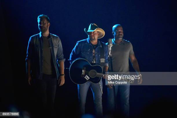Charles Kelley of Lady Antebellum Jason Aldean and Darius Rucker perform onstage during the 2017 CMT Music Awards at the Music City Center on June 6...