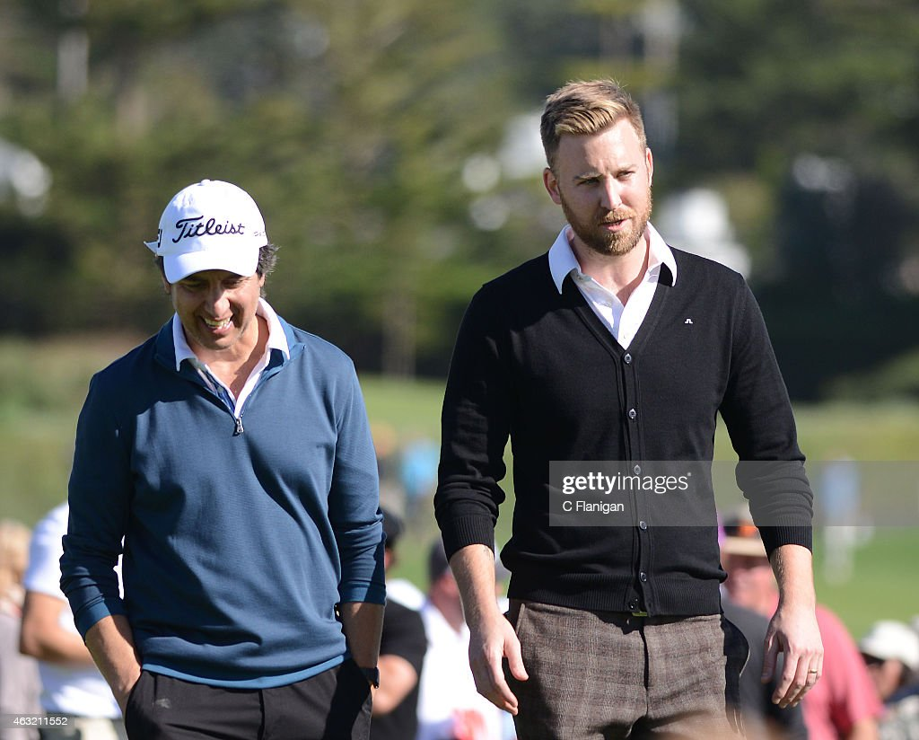 Charles Kelly of Lady Antebellum (R) and Actor Ray Romano win the 18th Hole during the 3M Celebrity Challenge at the AT&T Pebble Beach National Pro-Am at the Pebble Beach Golf Links on February 11, 2015 in Pebble Beach, California.